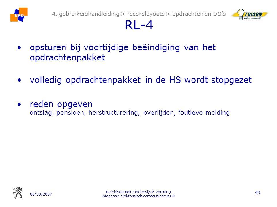 06/03/2007 Beleidsdomein Onderwijs & Vorming infosessie elektronisch communiceren HO 49 4.