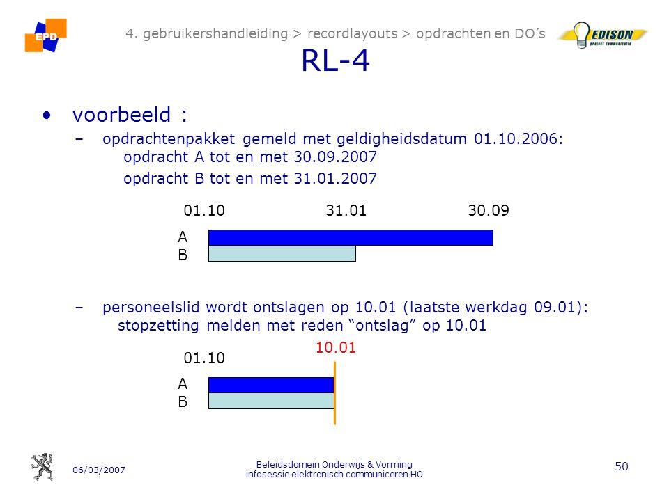 06/03/2007 Beleidsdomein Onderwijs & Vorming infosessie elektronisch communiceren HO 50 4.