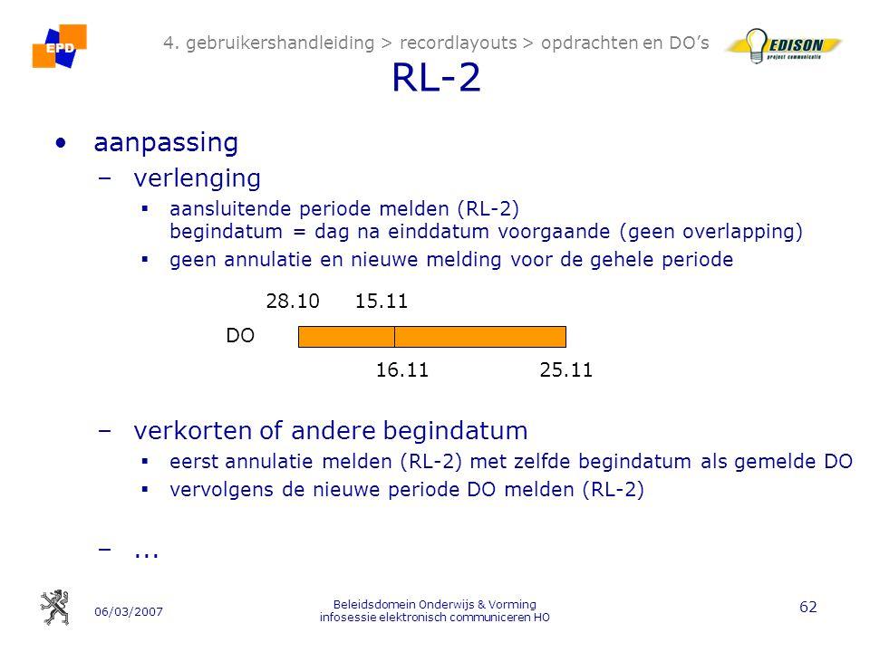 06/03/2007 Beleidsdomein Onderwijs & Vorming infosessie elektronisch communiceren HO 62 4.