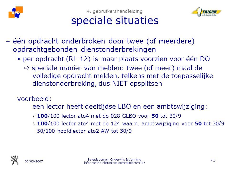 06/03/2007 Beleidsdomein Onderwijs & Vorming infosessie elektronisch communiceren HO 71 4.