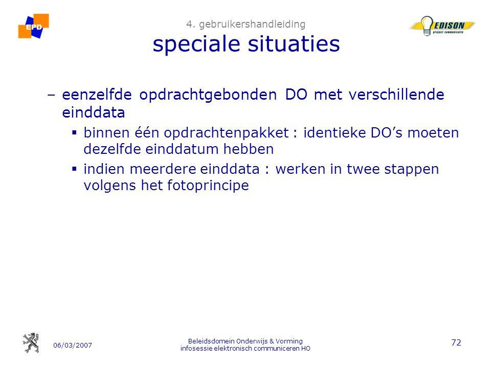 06/03/2007 Beleidsdomein Onderwijs & Vorming infosessie elektronisch communiceren HO 72 4.