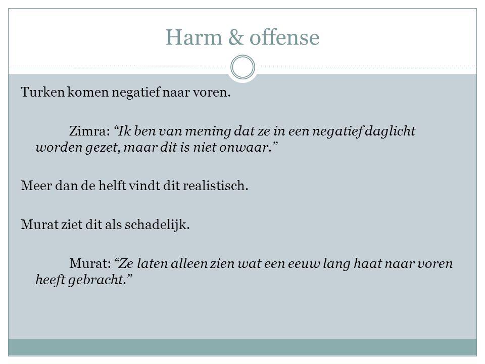 """Harm & offense Turken komen negatief naar voren. Zimra: """"Ik ben van mening dat ze in een negatief daglicht worden gezet, maar dit is niet onwaar."""" Mee"""