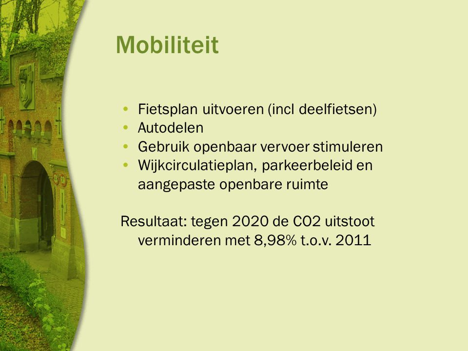 Mobiliteit Fietsplan uitvoeren (incl deelfietsen) Autodelen Gebruik openbaar vervoer stimuleren Wijkcirculatieplan, parkeerbeleid en aangepaste openbare ruimte Resultaat: tegen 2020 de CO2 uitstoot verminderen met 8,98% t.o.v.