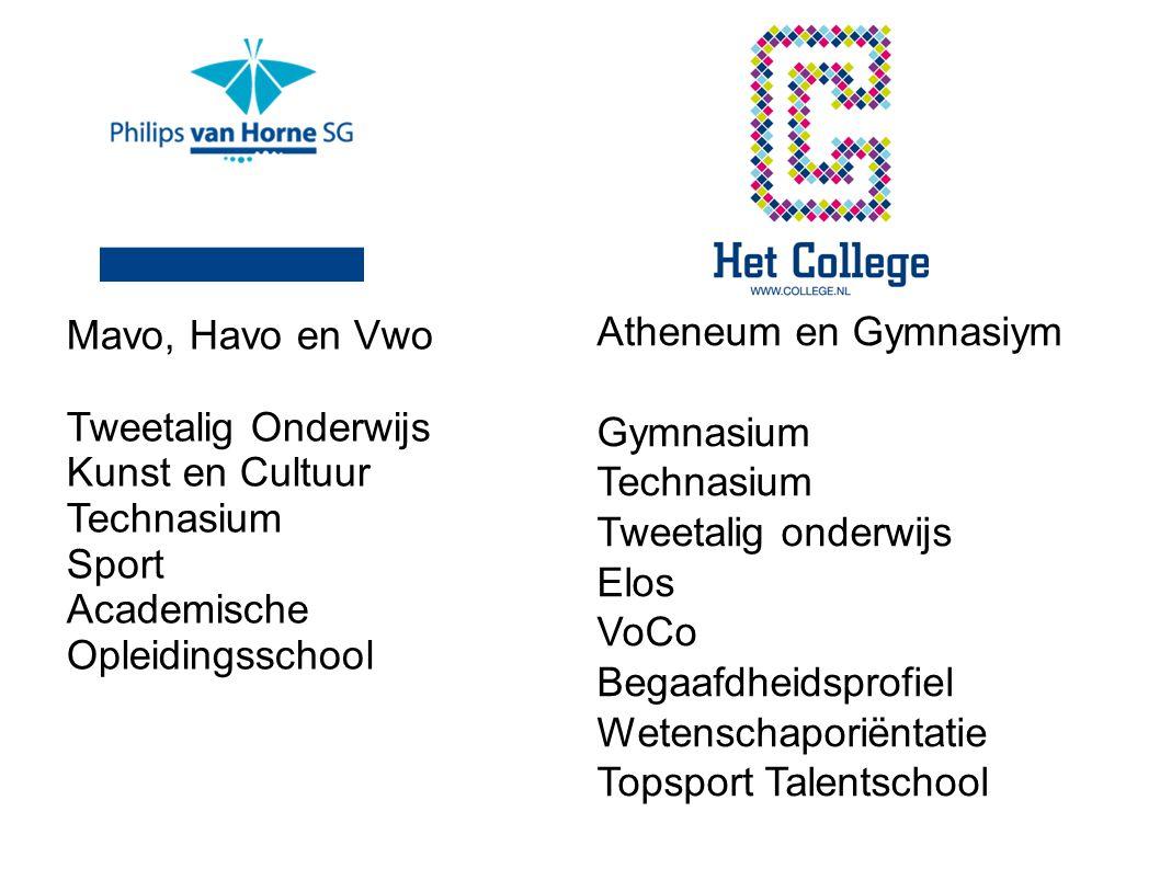 Atheneum en Gymnasiym Gymnasium Technasium Tweetalig onderwijs Elos VoCo Begaafdheidsprofiel Wetenschaporiëntatie Topsport Talentschool Mavo, Havo en