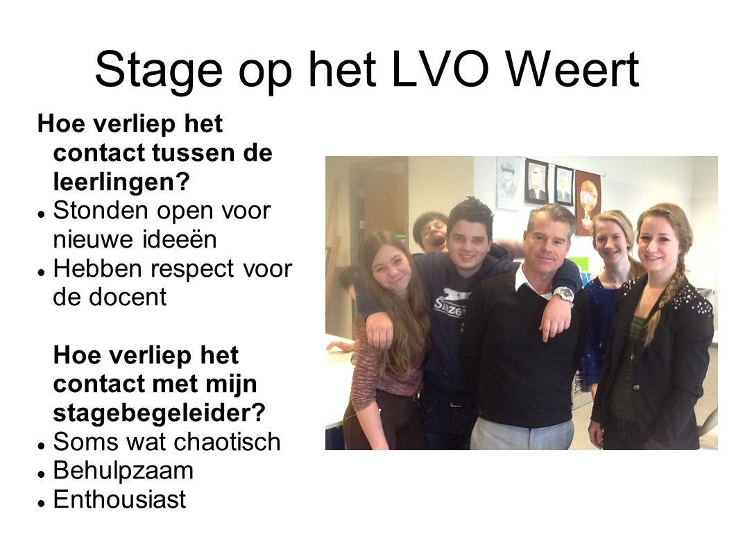 Stage op het LVO Weert Hoe verliep het contact tussen de leerlingen? Stonden open voor nieuwe ideeën Hebben respect voor de docent Hoe verliep het con