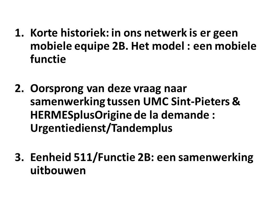 1.Korte historiek: in ons netwerk is er geen mobiele equipe 2B.