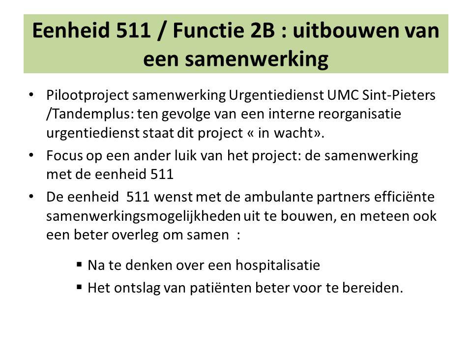 Eenheid 511 / Functie 2B : uitbouwen van een samenwerking Pilootproject samenwerking Urgentiedienst UMC Sint-Pieters /Tandemplus: ten gevolge van een interne reorganisatie urgentiedienst staat dit project « in wacht».