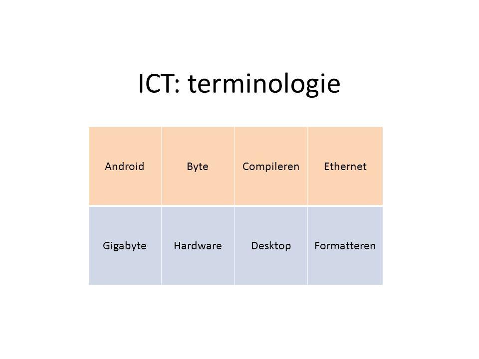 ICT: terminologie AndroidByteCompilerenEthernet GigabyteHardwareDesktopFormatteren