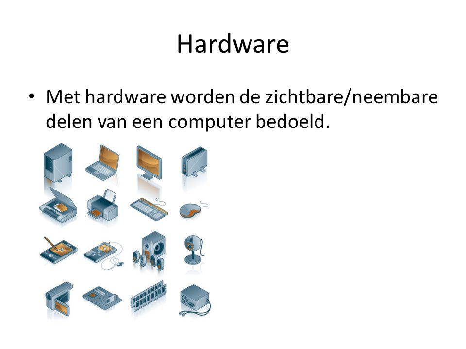 Hardware Met hardware worden de zichtbare/neembare delen van een computer bedoeld.