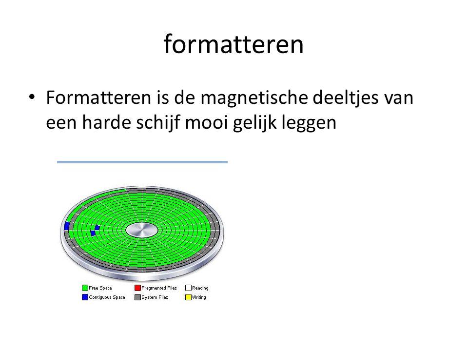 formatteren Formatteren is de magnetische deeltjes van een harde schijf mooi gelijk leggen
