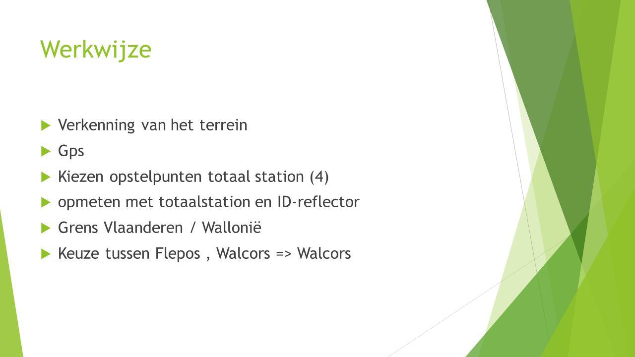 Werkwijze  Verkenning van het terrein  Gps  Kiezen opstelpunten totaal station (4)  opmeten met totaalstation en ID-reflector  Grens Vlaanderen / Wallonië  Keuze tussen Flepos, Walcors => Walcors