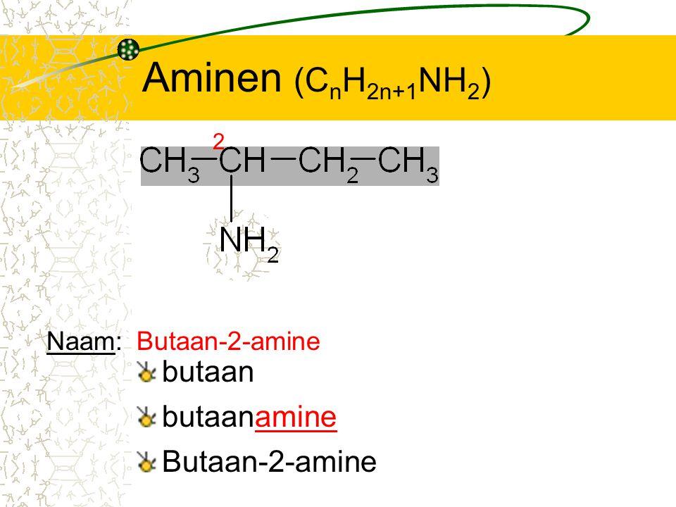 Aminen (C n H 2n+1 NH 2 ) butaan 2 butaanamine Butaan-2-amine Naam:Butaan-2-amine