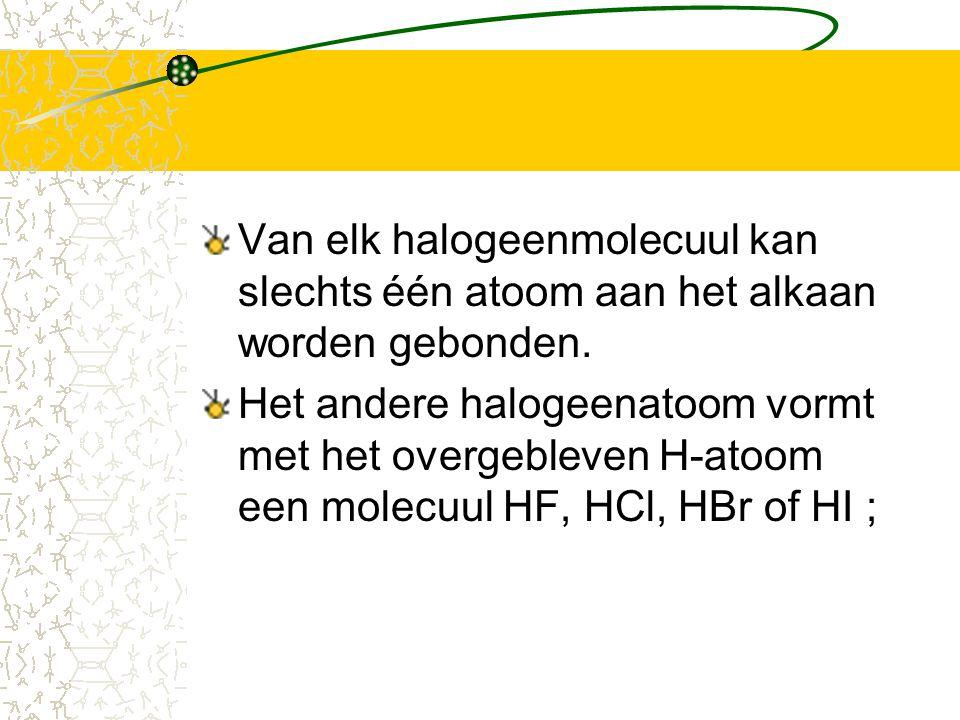 Van elk halogeenmolecuul kan slechts één atoom aan het alkaan worden gebonden. Het andere halogeenatoom vormt met het overgebleven H-atoom een molecuu