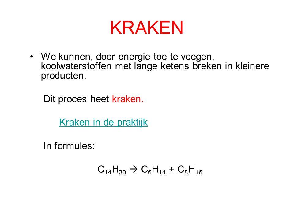 EXOTHERM VS ENDOTHERM Bij verbranding komt energie vrij: het is een exotherme reactie Kraken kost energie en is een endotherme reactie.