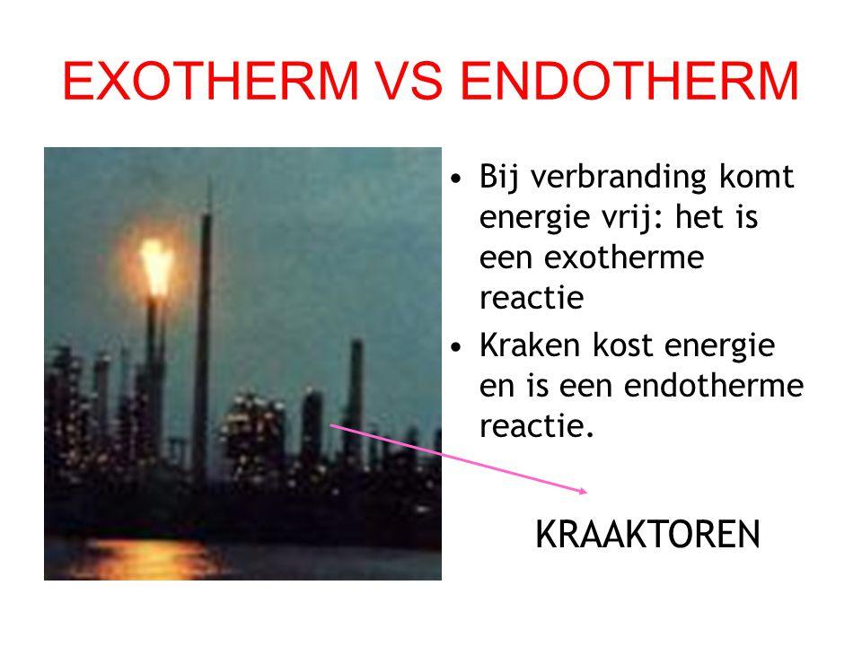 EXOTHERM VS ENDOTHERM Bij verbranding komt energie vrij: het is een exotherme reactie Kraken kost energie en is een endotherme reactie. KRAAKTOREN