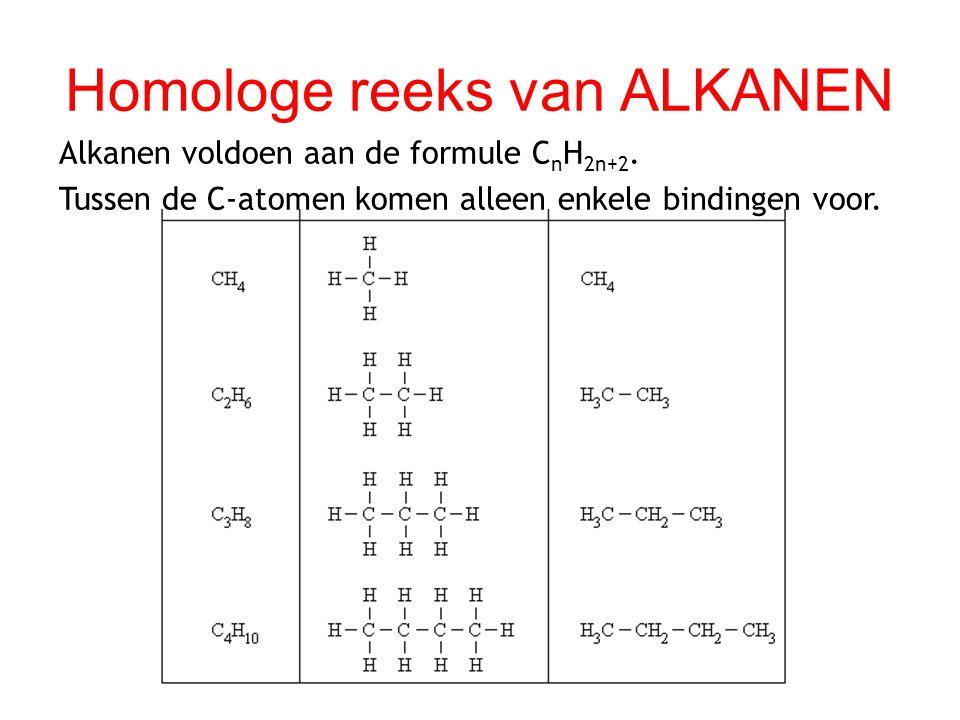 Homologe reeks van ALKANEN Alkanen voldoen aan de formule C n H 2n+2. Tussen de C-atomen komen alleen enkele bindingen voor.