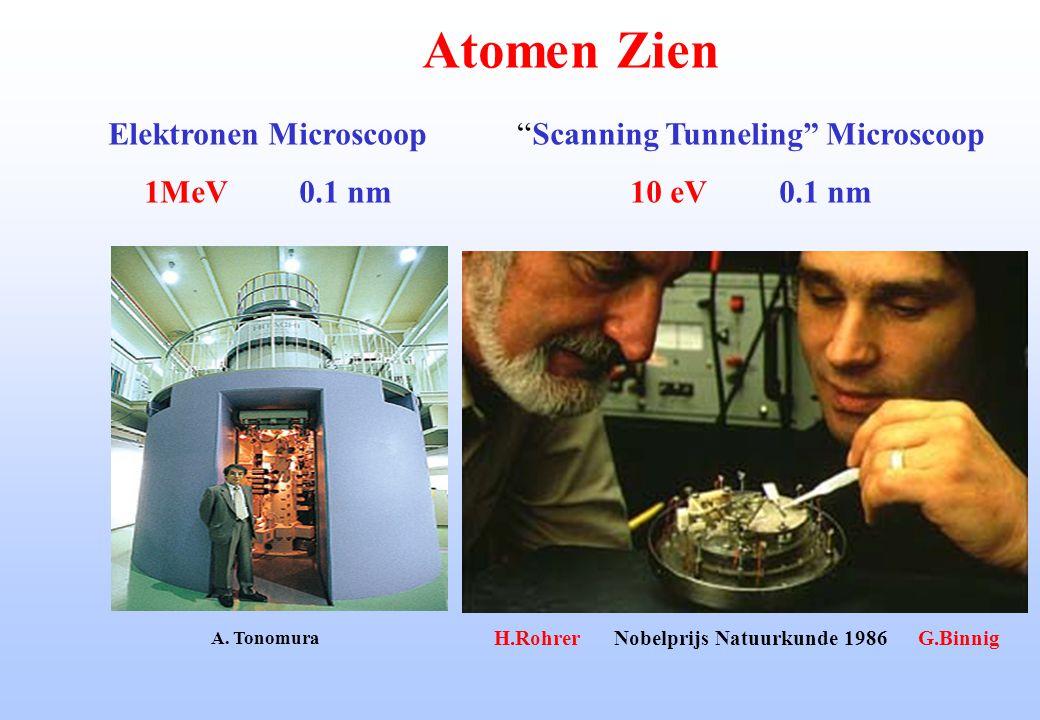 """Atomen Zien """"Scanning Tunneling"""" Microscoop 10 eV 0.1 nm Elektronen Microscoop 1MeV 0.1 nm H.Rohrer Nobelprijs Natuurkunde 1986 G.Binnig A. Tonomura"""
