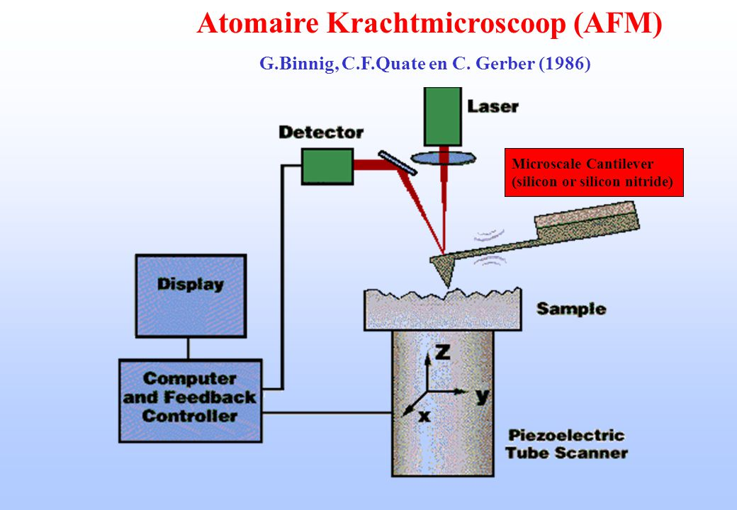 Atomaire Krachtmicroscoop (AFM) G.Binnig, C.F.Quate en C. Gerber (1986) Microscale Cantilever (silicon or silicon nitride)