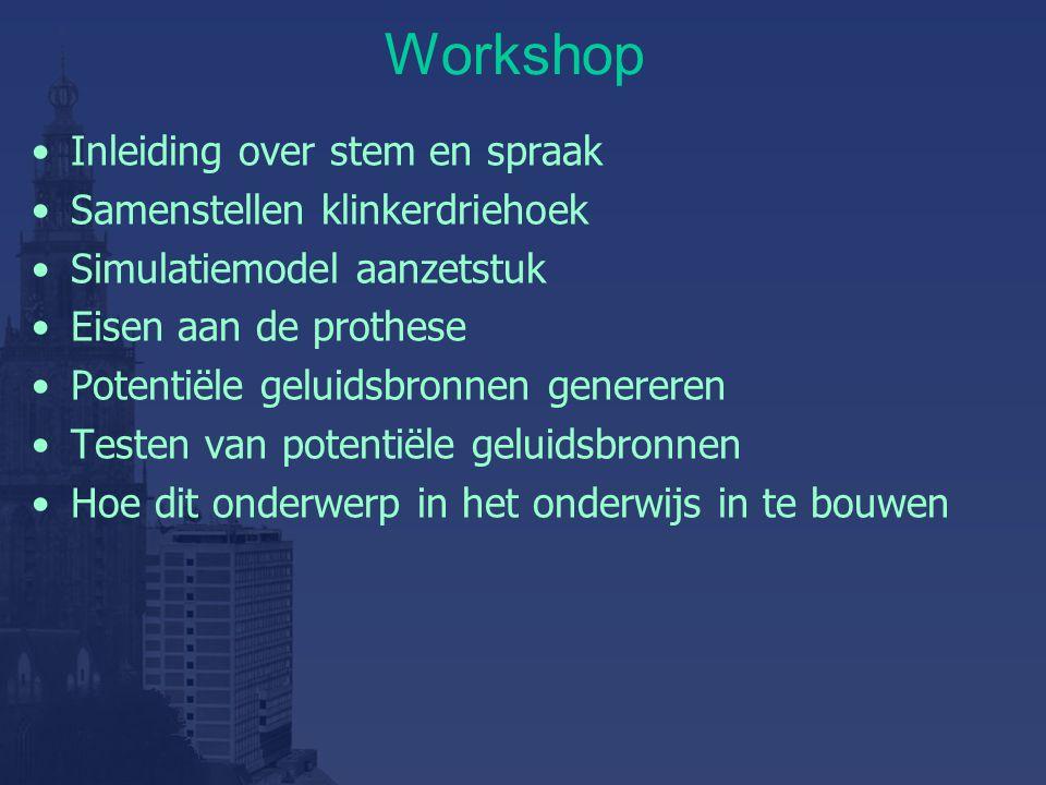 Workshop Inleiding over stem en spraak Samenstellen klinkerdriehoek Simulatiemodel aanzetstuk Eisen aan de prothese Potentiële geluidsbronnen genereren Testen van potentiële geluidsbronnen Hoe dit onderwerp in het onderwijs in te bouwen