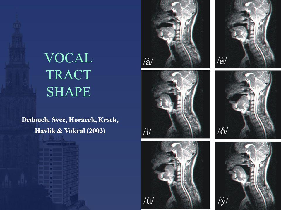 VOCAL TRACT SHAPE Dedouch, Svec, Horacek, Krsek, Havlik & Vokral (2003)