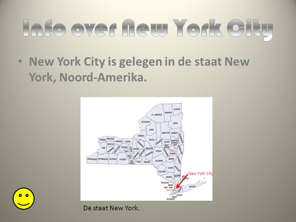 New York City is gelegen in de staat New York, Noord-Amerika. De staat New York. New York City