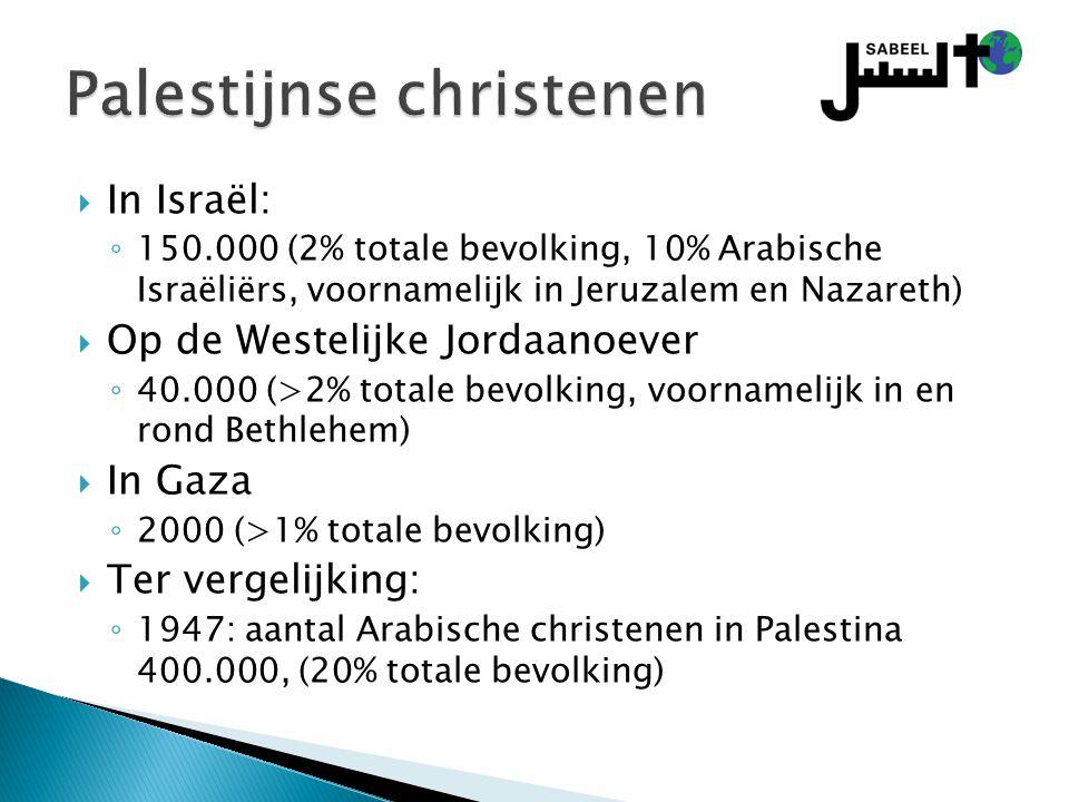  In Israël: ◦ 150.000 (2% totale bevolking, 10% Arabische Israëliërs, voornamelijk in Jeruzalem en Nazareth)  Op de Westelijke Jordaanoever ◦ 40.000