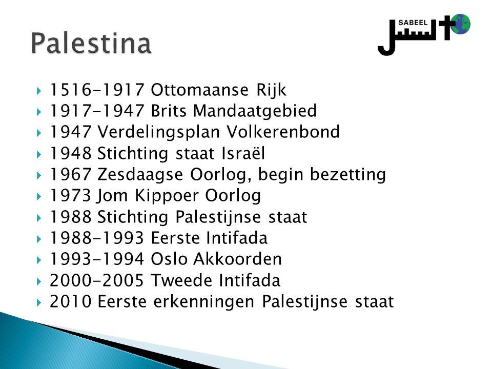  1516-1917 Ottomaanse Rijk  1917-1947 Brits Mandaatgebied  1947 Verdelingsplan Volkerenbond  1948 Stichting staat Israël  1967 Zesdaagse Oorlog, begin bezetting  1973 Jom Kippoer Oorlog  1988 Stichting Palestijnse staat  1988-1993 Eerste Intifada  1993-1994 Oslo Akkoorden  2000-2005 Tweede Intifada  2010 Eerste erkenningen Palestijnse staat