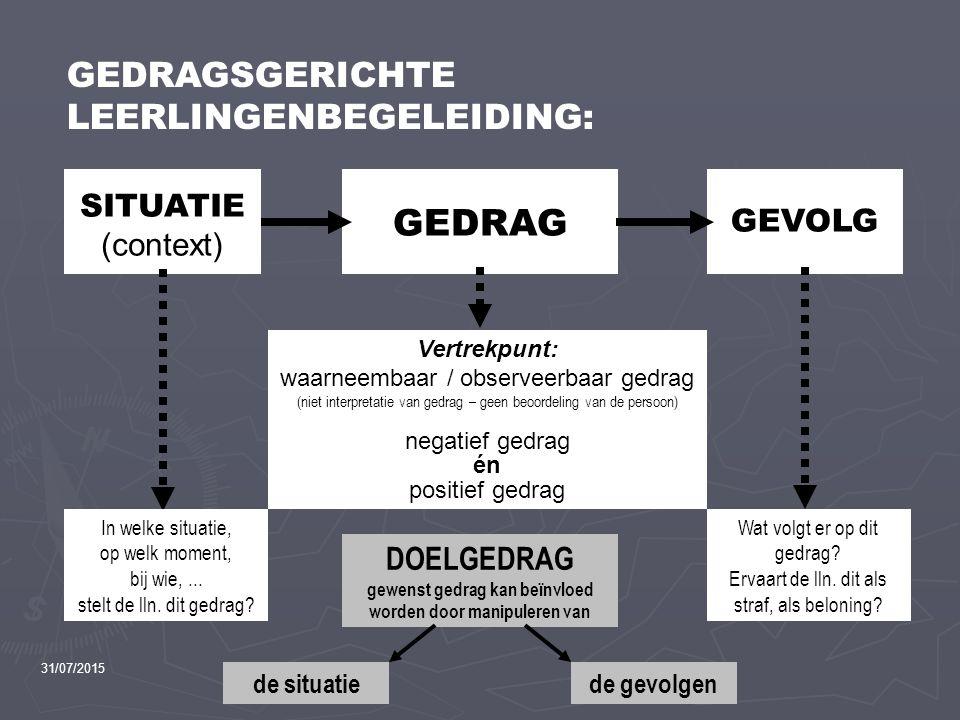 GEDRAGSGERICHTE LEERLINGENBEGELEIDING: GEDRAG GEVOLG SITUATIE (context) Vertrekpunt: waarneembaar / observeerbaar gedrag (niet interpretatie van gedra