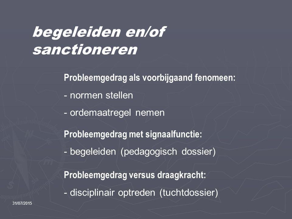 begeleiden en/of sanctioneren Probleemgedrag als voorbijgaand fenomeen: - normen stellen - ordemaatregel nemen Probleemgedrag met signaalfunctie: - be