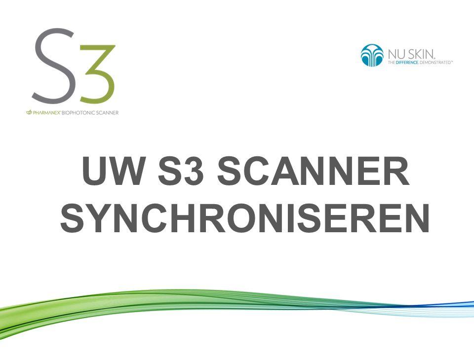 Uw Scanner synchroniseren betekent: De gegevens van de scans die u uitgevoerd hebt met uw Scanner versturen naar de wereldwijde Nu Skin- server.