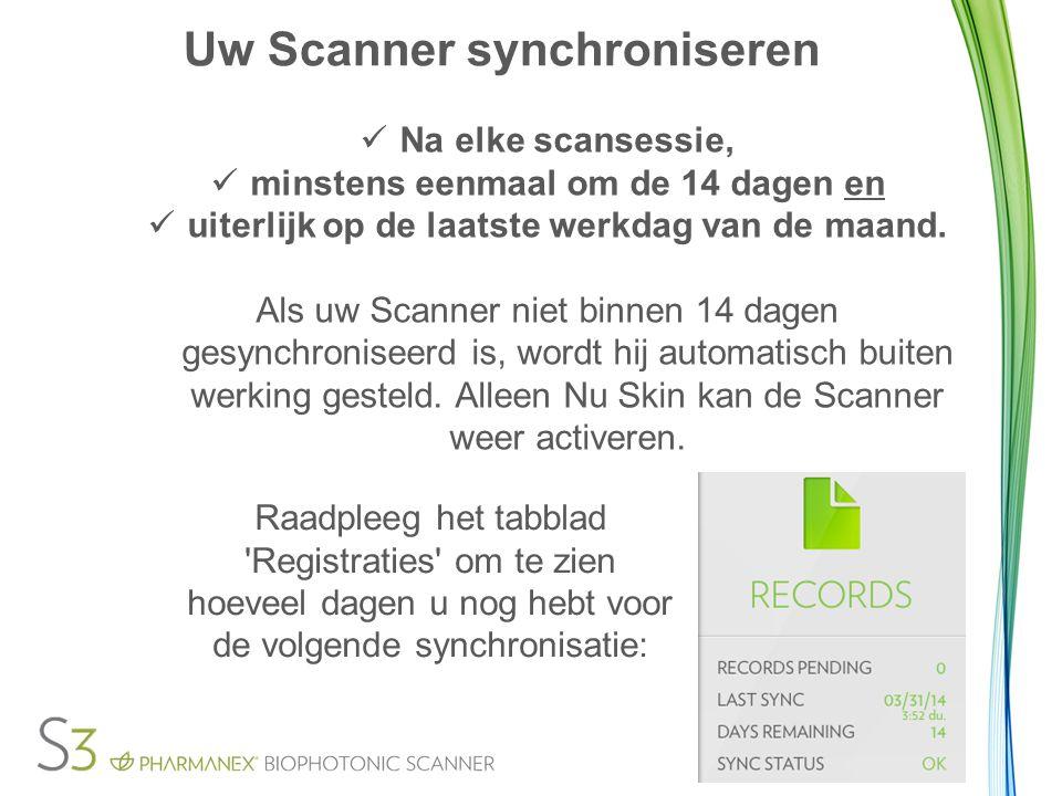 Uw Scanner synchroniseren Na elke scansessie, minstens eenmaal om de 14 dagen en uiterlijk op de laatste werkdag van de maand. Als uw Scanner niet bin