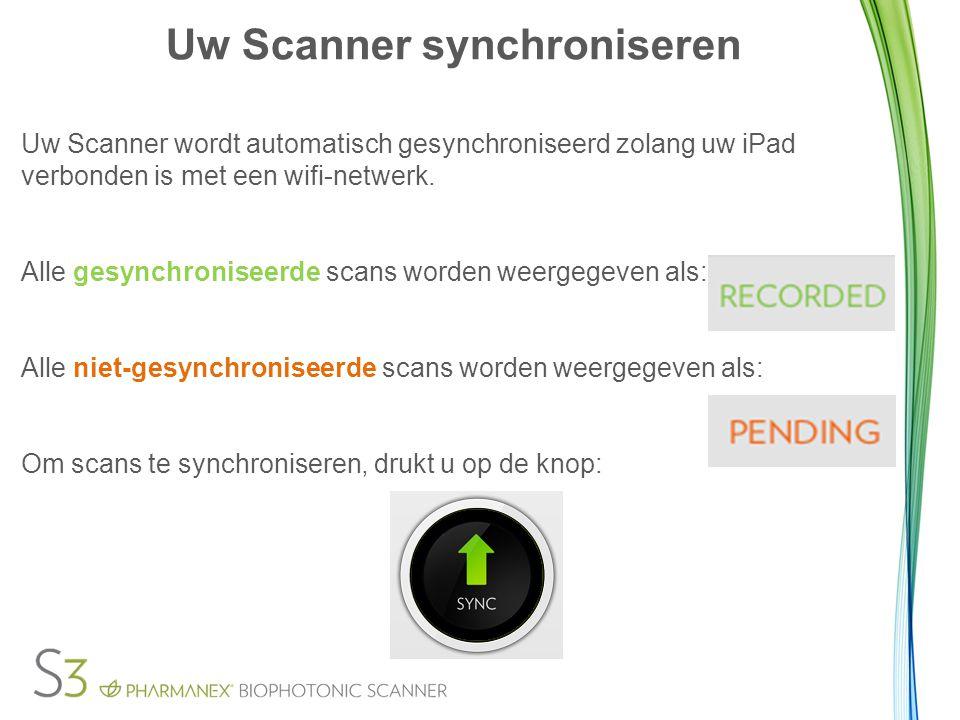 Uw Scanner synchroniseren Uw Scanner wordt automatisch gesynchroniseerd zolang uw iPad verbonden is met een wifi-netwerk. Alle gesynchroniseerde scans