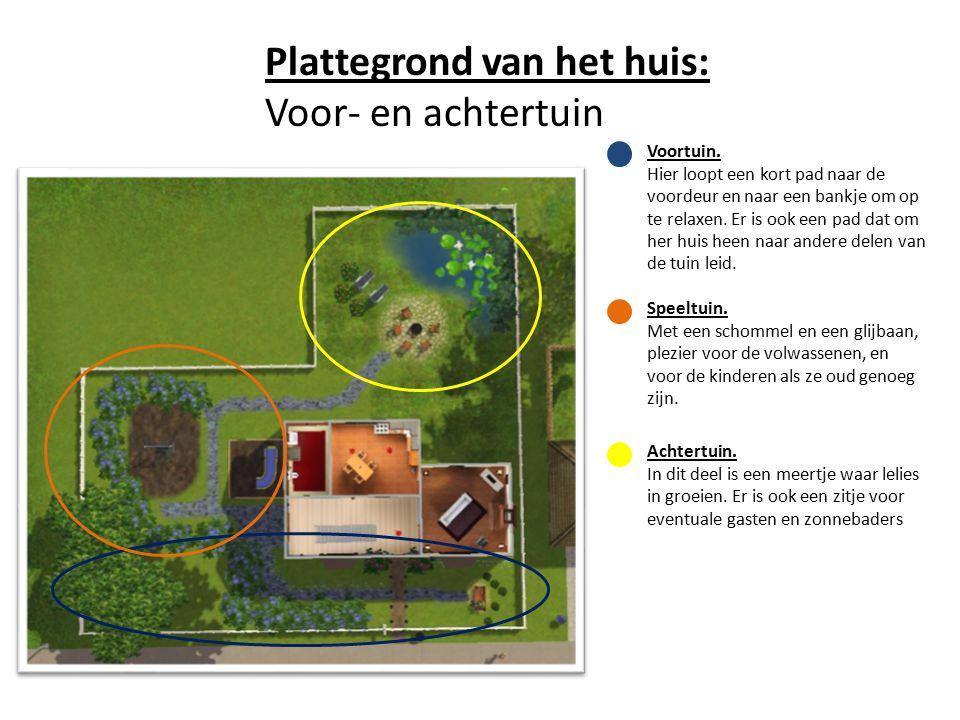 Plattegrond van het huis: Voor- en achtertuin Voortuin.