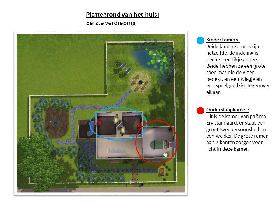 Plattegrond van het huis: Eerste verdieping Kinderkamers: Beide kinderkamers zijn hetzelfde, de indeling is slechts een tikje anders. Beide hebben ze