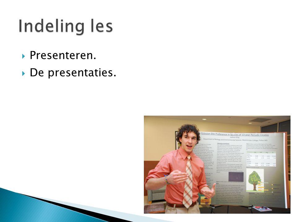  Presenteren.  De presentaties.