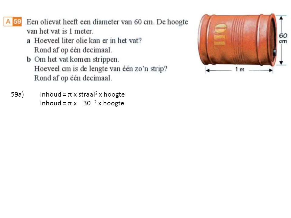 Inhoud = π x 30 2 x hoogte