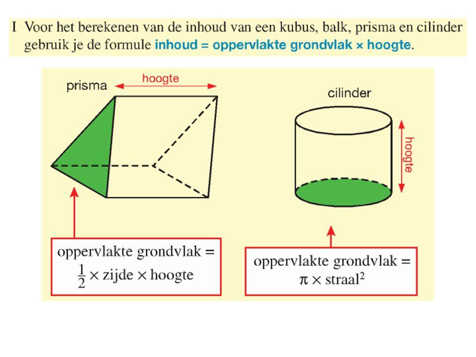 59a)Inhoud = π x straal 2 x hoogte Inhoud = π x 30 2 x hoogte Inhoud = π x 30 2 x 100 = 282743,34 cm 3 = 282,74334 dm 3