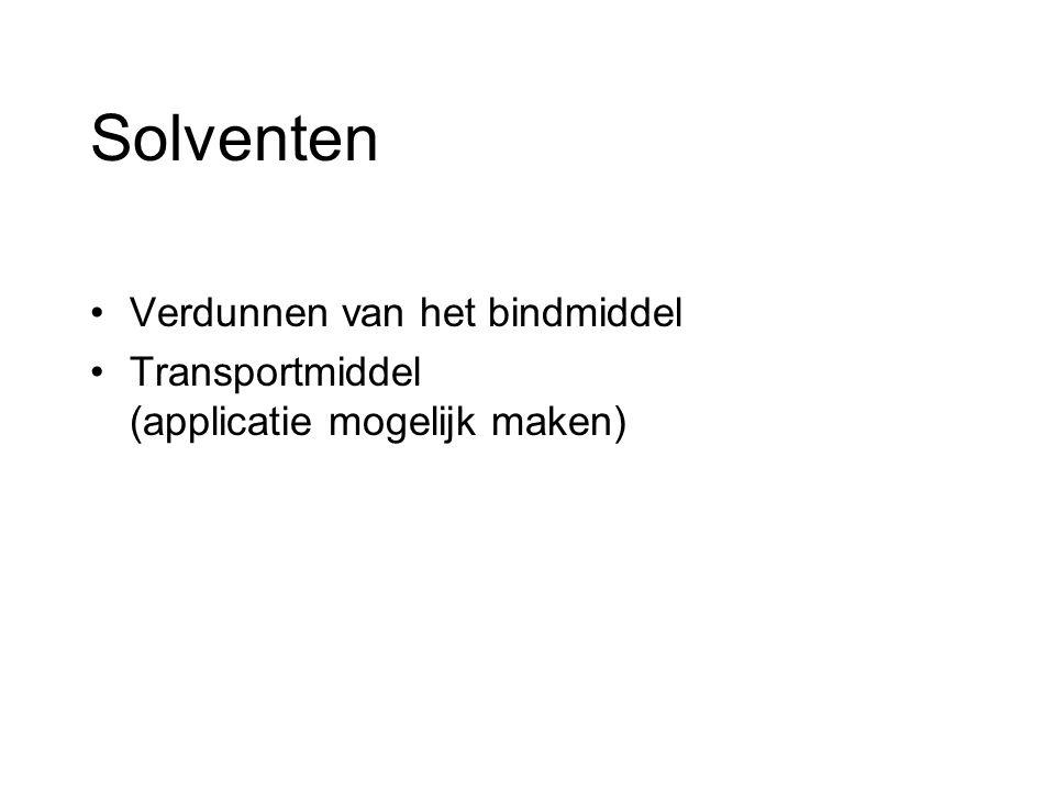 Solventen Verdunnen van het bindmiddel Transportmiddel (applicatie mogelijk maken)