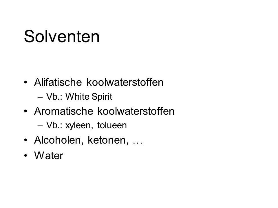 Solventen Alifatische koolwaterstoffen –Vb.: White Spirit Aromatische koolwaterstoffen –Vb.: xyleen, tolueen Alcoholen, ketonen, … Water