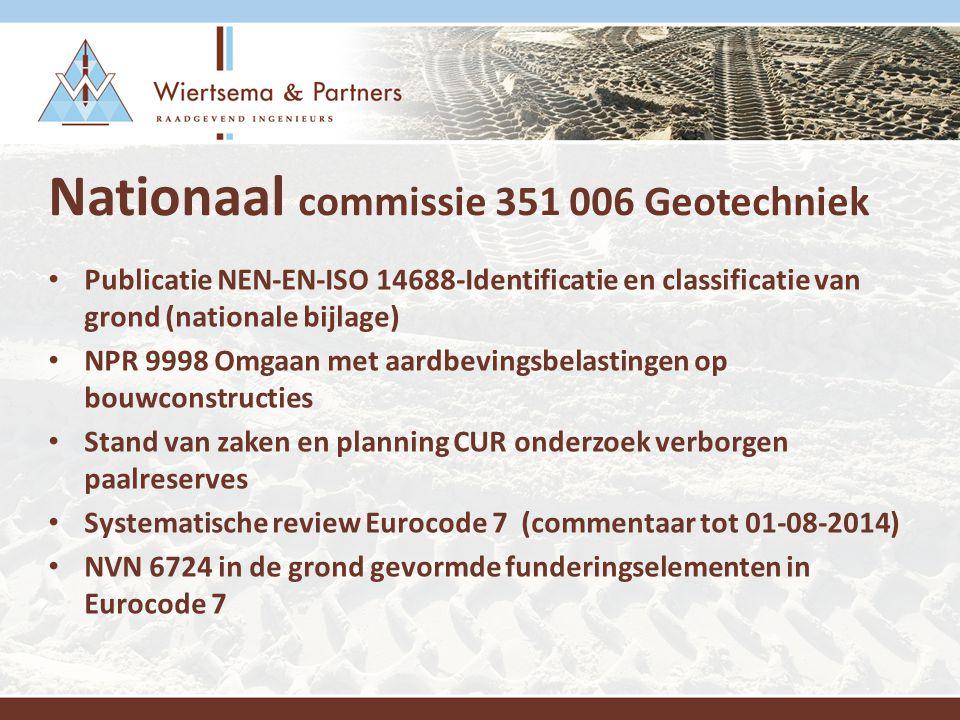 Actueel Europees - Internationaal Testing of soil nails ISO 22477-6 Rapid load testing ISO 22477-10 Measuring while drilling ISO-22476-15 Vane testing ISO 22476-9 Evolutie Eurocode 7 Dr Powel is de nieuwe voorzitter van CEN/TC 341 (03-12-2013) Bijeenkomst CEN/TC 341/WG1 (5-6 juni 2014) Luxemburg, Drilling and sampling methods and groundwater measurements