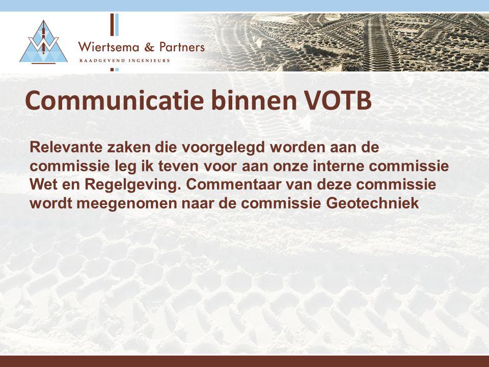 Communicatie binnen VOTB Relevante zaken die voorgelegd worden aan de commissie leg ik teven voor aan onze interne commissie Wet en Regelgeving.