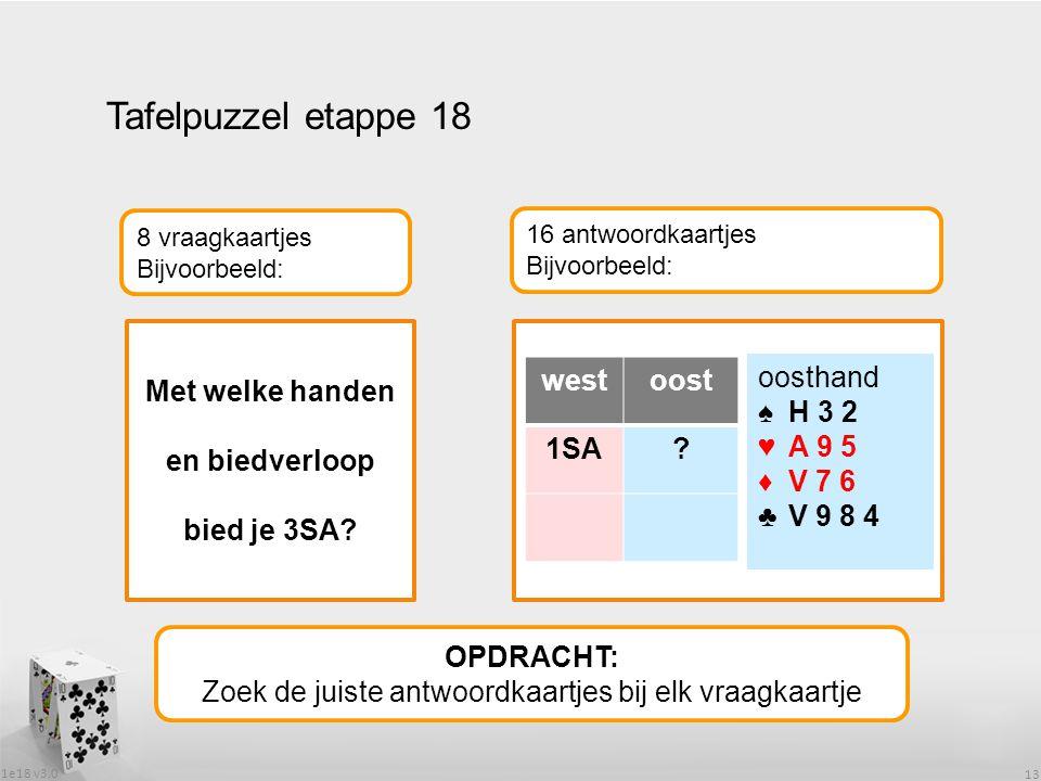 1e18 v3.0 13 Tafelpuzzel etappe 18 OPDRACHT: Zoek de juiste antwoordkaartjes bij elk vraagkaartje 8 vraagkaartjes Bijvoorbeeld: 16 antwoordkaartjes Bijvoorbeeld: Met welke handen en biedverloop bied je 3SA.