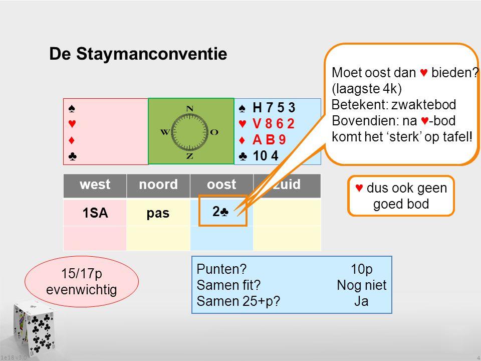 1e18 v3.0 4 De Staymanconventie ♠H 7 5 3 ♥V 8 6 2 ♦A B 9 ♣10 4 westnoordoostzuid 1SApas Punten.
