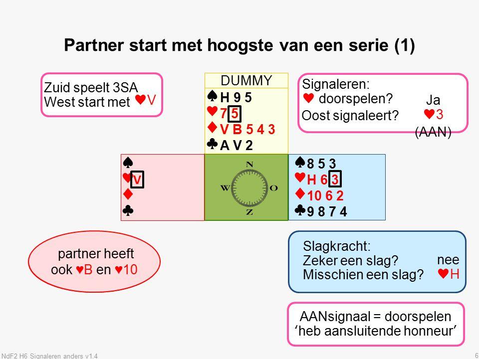 6 ♠♥♦♣♠♥♦♣ ♠♥♦♣♠♥♦♣ Partner start met hoogste van een serie (1) 8 5 3 H 6 3 10 6 2 9 8 7 4 Wat betekent partners uitkomst.