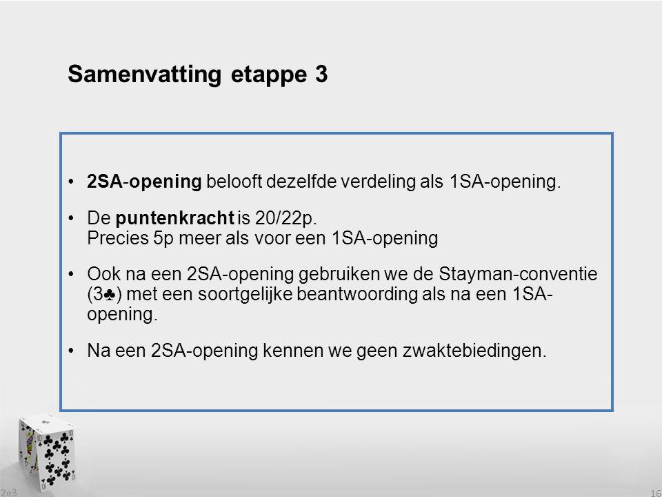 2e3 16 2SA-opening belooft dezelfde verdeling als 1SA-opening. De puntenkracht is 20/22p. Precies 5p meer als voor een 1SA-opening Ook na een 2SA-open
