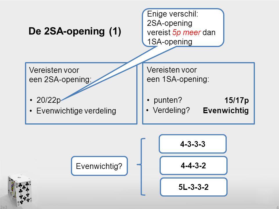 2e3 4 De 2SA-opening (1) Vereisten voor een 2SA-opening: Vereisten voor een 1SA-opening: 20/22p punten? Evenwichtige verdeling Verdeling? Evenwichtig?