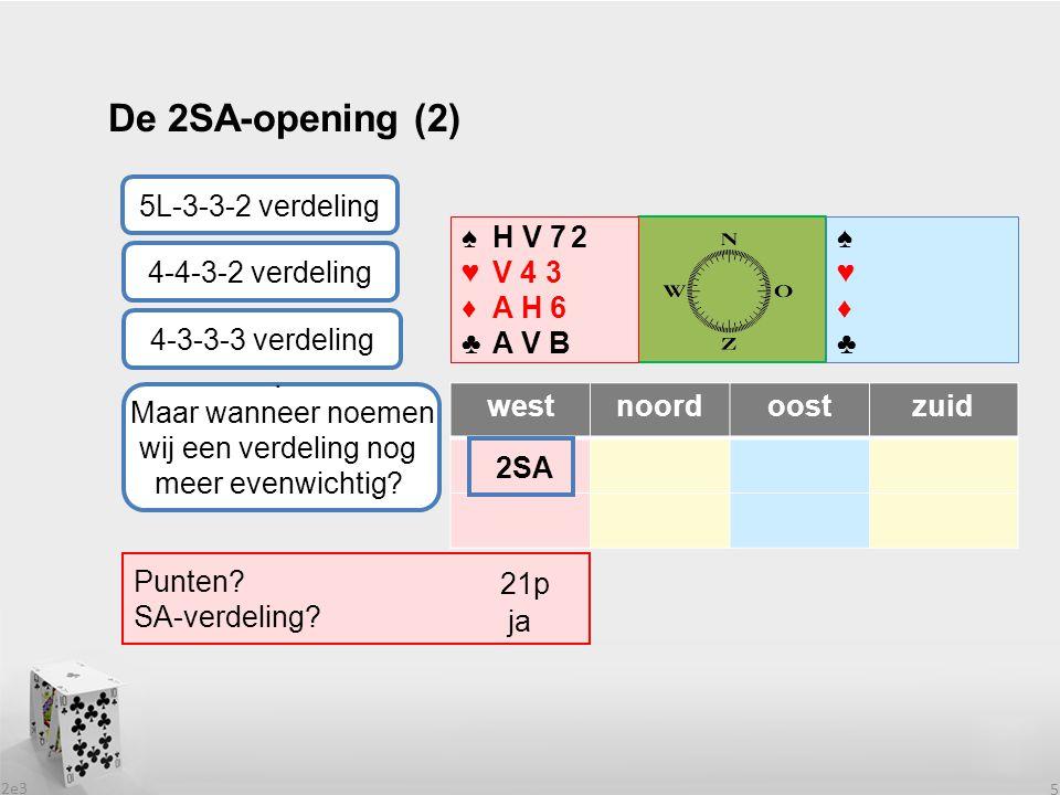 2e3 5 westnoordoostzuid ? 2SA ♠♥♦♣♠♥♦♣ ♠H V 7 ♥V 4 ♦A H 6 ♣A V B. Maar wanneer noemen wij een verdeling nog meer evenwichtig? Punten? SA-verdeling? 21