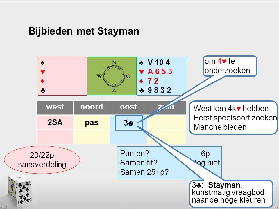 2e3 8 Bijbieden met Stayman westnoordoostzuid 2SApas ? ♠♥♦♣♠♥♦♣ ♠♥♦♣♠♥♦♣ Punten? Samen fit? Samen 25+p? West kan 4k♥ hebben Eerst speelsoort zoeken Ma