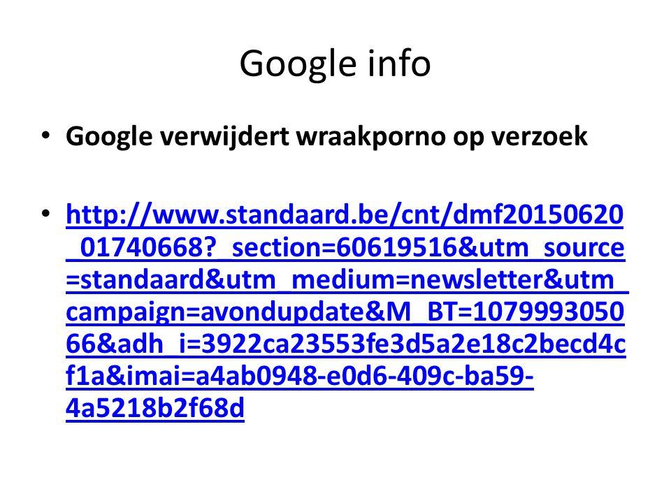 Google info Google verwijdert wraakporno op verzoek http://www.standaard.be/cnt/dmf20150620 _01740668?_section=60619516&utm_source =standaard&utm_medi