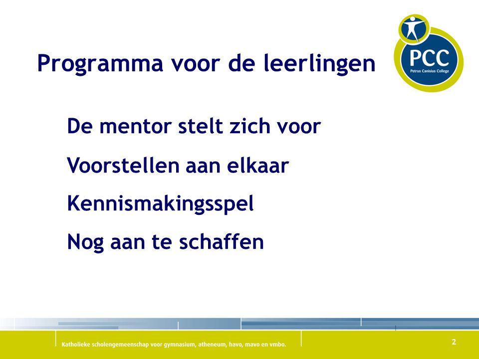 3 Voorstellen De brugklas Fabritius Begeleiding Mentoren Programma voor de ouders